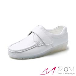 【MOM】經典軟底魔鬼粘寬楦設計舒適護士鞋 白