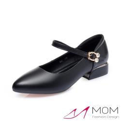 【MOM】真皮細緻牛皮氣質尖頭鑽釦一字帶金屬粗跟鞋 黑