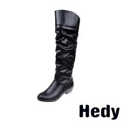 【Hedy】歐美純色時尚百搭粗跟長靴 黑
