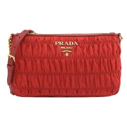 PRADA 1BH152 經典LOGO皺褶尼龍皮飾邊斜背鍊包.紅