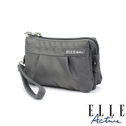 【ELLE Active】優雅隨行系列-多夾層零錢包/手腕包/手拿包-灰色