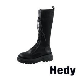 【Hedy】潮流時尚針織拼接復古長筒馬丁靴 黑