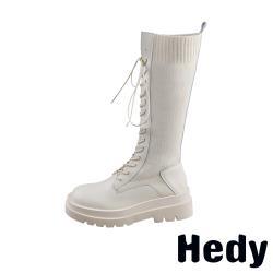 【Hedy】潮流時尚針織拼接復古長筒馬丁靴 米