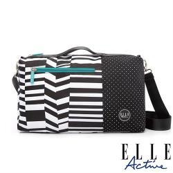 【ELLE active】錯位空間系列-小旅行袋/側背包/公事包/手提包(黑色幾何條紋)