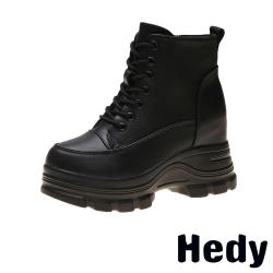 【Hedy】百搭復古個性內增高厚底馬丁靴 黑