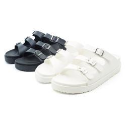 【 CHER美鞋】 MIT簡約百搭伯肯厚底拖鞋-黑色/白色 36-40碼 -09509111028-18