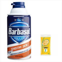 美國Barbasol刮鬍泡--2款選擇(10oz)*6+輕便型刮鬍刀(5入/包)