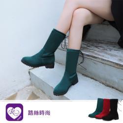 【iRurus 路絲時尚】韓系甜美浪漫素面綁帶圓頭方跟中長靴/3色/35-43碼 (RX1233-Z8-8) 零碼促銷
