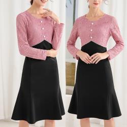 麗質達人 - 32073黑粉色拼接假二件洋裝