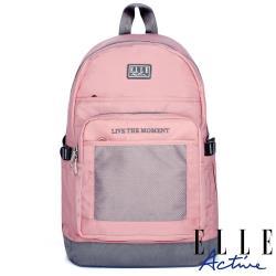 【ELLE Active】透視網布系列-後背包-大-粉紅色
