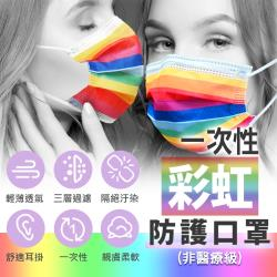 絢爛彩虹風格 拋棄式成人口罩 50入/包