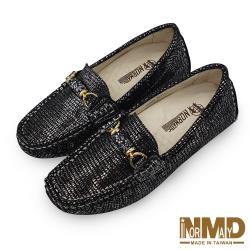 【Normady 諾曼地】璀璨珠光星空專利高階版磁石內增高真皮莫卡辛豆豆鞋-MIT手工鞋(星空黑)