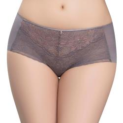思薇爾 撩波無拘束之花系列M-XL蕾絲中低腰平口內褲(伯爵灰)