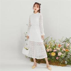 連身裙 立領浪漫蕾絲長袖洋裝GE00572-創翊韓都
