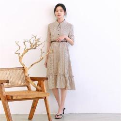 連身裙 氣質印花收腰短袖洋裝RJ5122-創翊韓都