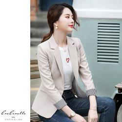 【GF 快時尚】韓系修身條紋翻袖西裝外套 (M~2XL)
