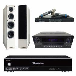金嗓 CPX-900 A5電腦伴唱機 4TB+KARMEN X3 擴大機+MR-865 無線麥克風+AS-168 主喇叭(白)