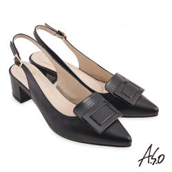 A.S.O-職場通勤-健步美型簡約漆皮扣後拉帶中跟鞋-黑