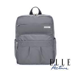 【ELLE Active】知性優雅系列-方型後背包-灰色