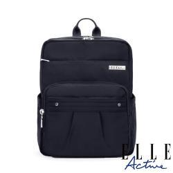 【ELLE Active】知性優雅系列-方型後背包-黑色