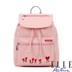 【ELLE Active】熱愛追隨系列-束口後背包-粉紅色