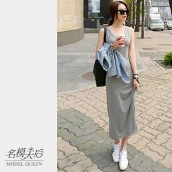 【名模天后】素色修身氣質無袖洋裝 (XL-2XL)