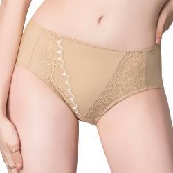 思薇爾 伊麗絲系列M-XXL蕾絲中腰三角內褲(奶茶膚)