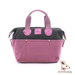 B.S.D.S冰山袋鼠 - 香檳歐蕾 - 純色拼接手提側背包 - 莓果粉【Y4502-P】