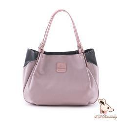 B.S.D.S冰山袋鼠 - 香檳歐蕾 - 純色拼接多WAY子母包 - 藕粉紫【Y4503-PR】