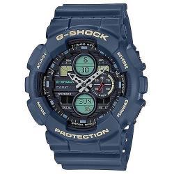 【CASIO】G-SHOCK 復古音響概念防磁三眼三圈大錶徑雙顯錶-復古藍(GA-140-2A)
