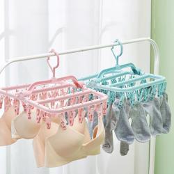 IDEA   32夾粉嫩色防風耐用摺疊掛式曬衣夾(防水抗曬/超強折合)