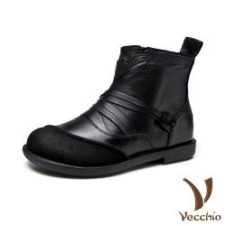 【Vecchio】真皮頭層牛皮異材質拼接線繩造型時尚低跟短靴 黑