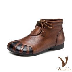 【Vecchio】真皮頭層牛皮復古撞色拼接抽繩綁帶造型低跟短靴 棕