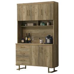 【AT HOME】美式工業4尺鐵藝餐櫃/碗盤櫃/收納櫃(希爾頓)