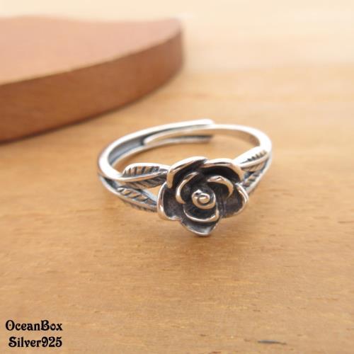 【海洋盒子】復古薰黑枝葉玫瑰花925純銀戒指.可調整/