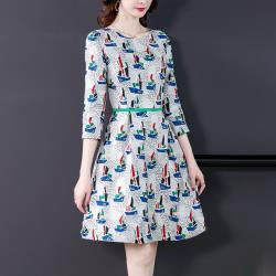 最水-自帶氣場印花圓裙洋裝 (XL~3L)
