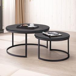 Boden-卡爾頓4.7尺伸縮圓形黑色石面茶几組合(2.7尺大茶几+2尺小茶几)