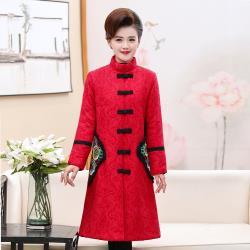 【花樣年華】典雅刺繡民族風立領鋪棉保暖長版大衣 (2色任選)