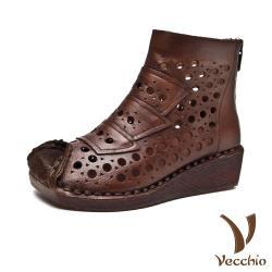 【Vecchio】真皮頭層牛皮復古縷空洞洞拼貼透氣坡跟短靴 棕