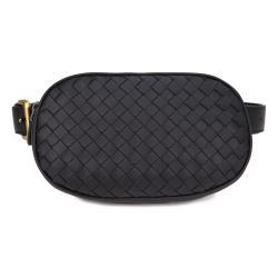 BOTTEGA VENETA 經典編織小羊皮拉鍊胸掛腰包(黑色)