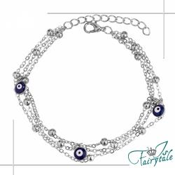 【伊飾童話】湛藍之眼*三層銅電鍍手鍊/銀