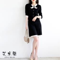 【艾米蘭】韓版簡約造型領排扣套裝 (M~L)