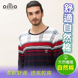 oillio歐洲貴族 男裝 長袖純棉超柔圓領T恤 經典撞色設計 親膚舒適手感棉料 深藍色