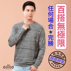 oillio歐洲貴族 男裝 長袖圓領質感線衫 超柔舒適羊毛毛料 超柔防皺 灰色