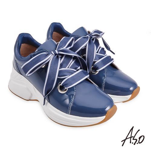 A.S.O-機能休閒-超能耐時尚漆皮雙色寬帶休閒鞋-藍/