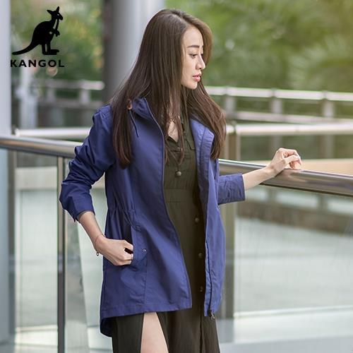 【英國KANGOL】專櫃款機能風衣外套-紫色/