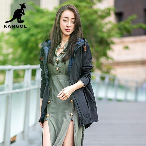 【英國KANGOL】專櫃款機能風衣外套-黑色/