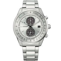 CITIZEN星辰 GENTS 時尚男藍寶石玻璃鏡面風格腕錶-銀色41mm(CA7030-97A)