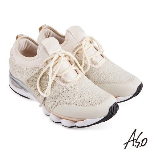 A.S.O-機能休閒-活力雙核心飛織布料直套運動鞋-金/