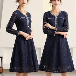 麗質達人 - 32080蕾絲長袖假二件洋裝